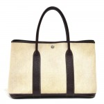 Hermes Garden Party PM Chocolate Brown Leather Beige Canvas Tote Bag