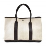 Hermes Garden Party PM Chocolate Brown Leather Beige Canvas Handbag