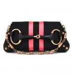 Gucci Black GG Canvas Horsebit Black & Pink Web 2Way Clutch Shoulder Bag