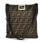 Fendi Tobacco Zucca and Brown Leather Flat Shoulder Bag