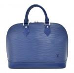 Louis Vuitton Alma Myrtille Blue Epi Leather Handbag