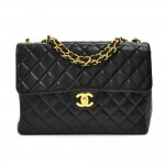 "Vintage Chanel 12"" Jumbo Classic Black Quilted Leather Shoulder Flap Bag"