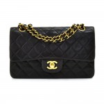 "Vintage Chanel Classic 9"" Double Flap Black Quilted Leather Shoulder Bag"