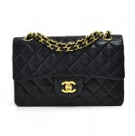 "Chanel Classic Classic 9"" Double Flap Black Quilted Leather Shoulder Bag"