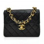 "Vintage Chanel 7"" Classic Flap Black Quilted Leather Mini Handbag"