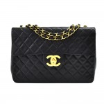 "Vintage Chanel Classic 13"" Maxi Jumbo Black Quilted Lambskin Leather Classic Flap Bag"