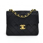 "Vintage Chanel 7"" Black Quilted Leather Classic Mini Flap Bag"