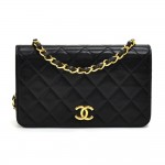 "Vintage Chanel 7.5"" Classic Black Quilted Leather Mini Flap Shoulder Bag"