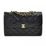 "Vintage Chanel Classic 2.55 11"" Double Flap Black Quilted Leather Paris Limited Shoulder Bag"