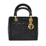 Vintage Dior Lady Dior Medium Black Quilted Cannage Leather Handbag