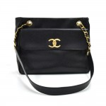 Vintage Chanel Black Caviar Leather Front Pocket Twist Lock Shoulder Bag