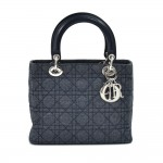 Dior Lady Dior Medium Navy Quilted Cannage Denim Handbag