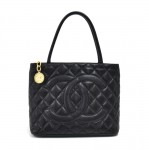 Chanel Medallion Black Quilted Caviar Leather Tote Bag