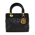Dior Lady Dior Medium Black Quilted Cannage Leather Handbag