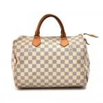 Louis Vuitton Speedy 30 White Damier Azur Canvas City Handbag