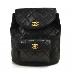 Vintage Chanel Black Quilted Lambskin Leather Medium Backpack