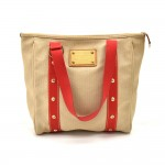 Louis Vuitton Cabas MM Beige x Red Antigua Canvas Tote Bag