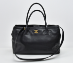 A-1 Chanel Cerf Black Caviar Leather Tote Bag