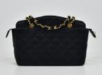 A-8 Chanel 8.5inch Black Quilted Satin Shoulder Bag