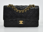 """A-10 Chanel 2.55 Classic 10"""" Double Flap Black Quilted Leather Shoulder Bag"""