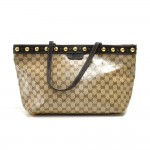 Gucci Babouska Studded Beige CC Crystal Coated Canvas Tote Bag