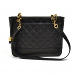 Vintage Chanel Black Quilted Lambskin Leather Medium Chain Shoulder Bag