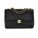 "Vintage Chanel 12"" Jumbo Classic Flap Black Quilted Leather Shoulder Bag"