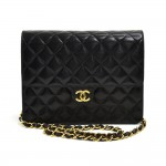 "Chanel 8.5"" Classic Flap Black Quilted Lambskin Leather Shoulder Bag"