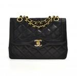 "Vintage Chanel 8"" Paris Limited Classic Double Flap Black Quilted Leather Shoulder Bag"