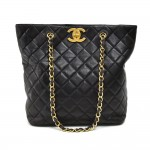 Vintage Chanel Top CC Turnlock Black Quilted Leather Large Tote Bag