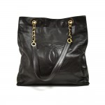 Vintage Chanel Large CC Logo Black Lambskin Leather Shopping Tote Bag