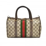 Vintage Gucci Accessory Collection GG Supreme Coated Canvas Small Boston Bag