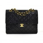"Vintage Chanel Classic 10"" Tall Double Flap Black Quilted Leather Shoulder Bag"