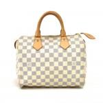 Louis Vuitton Speedy 25 White Damier Azur Canvas Handbag
