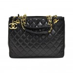Chanel Black Quilted Lambskin Leather 3 Compartment Chain Tote Bag