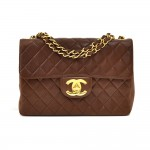 "Vintage Chanel 12"" Jumbo Brown Quilted Leather Shoulder Classic Flap Bag"