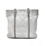 Chanel Silver Metallic Leather Chain Trim Flat Tote Bag-Limited Ed
