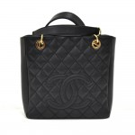 Chanel Petite Shopper Tote (PST) Black Quilted Caviar Leather Tote Bag