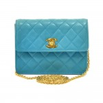 Vintage Chanel Turquoise Lambskin Leather Mini Flap Clutch with Chain Strap