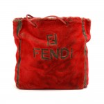Vintage Fendi Red Glossy Faux Fur & Leather Tote Bag-1970s-80s