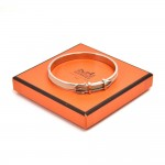 Hermes White Leather & Silver-tone hardware Belt Buckle Design Bangle Bracelet