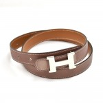 Vintage Hermes Constance Brown Reversible H Belt 24 mm-Size 75