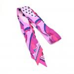 Louis Vuitton Pink & Navy Monogram Flowers Silk Bandeau Skinny Scarf