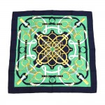 Hermes Eperon d'Or by Henri d'Origny Green & Deep Navy Silk Scarf 90