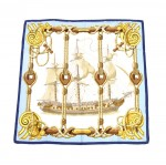 Hermes Tribord Ship By Julia Abadie Blue & Gold Silk Scarf 90