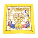 Hermes Republique Francaise Liberte Egalite Fraternite Yellow Silk Scarf 90