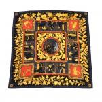 Hermes Musique Des Dieux by Claudia Stuhlhofer Mayr Black Multicolor Silk Scarf 90