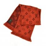 Louis Vuitton Logomania LV Logo Deep Orange Orient Wool & Silk Blend Scarf