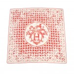 Hermes Mosaique Au 24 by Benoit Pierre Emery Taupe & Red Silk Scarf 90