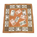 Vintage Fendi Brown Fendi Money Currency Print Silk Scarf 90